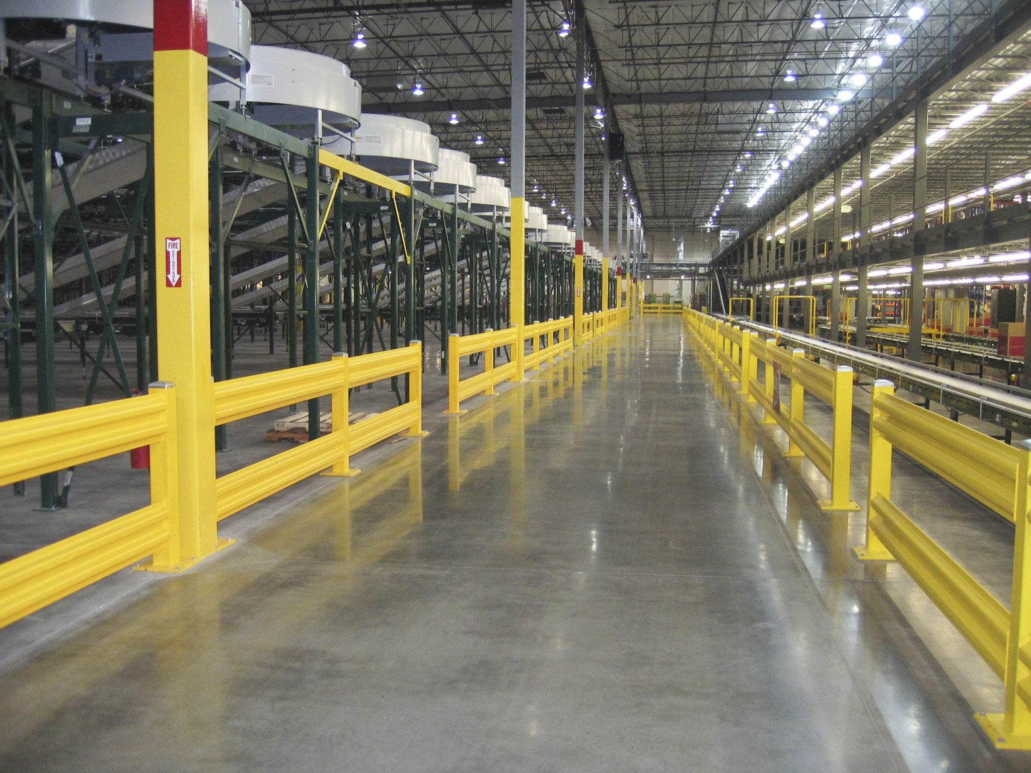 Steel forklift guard rail