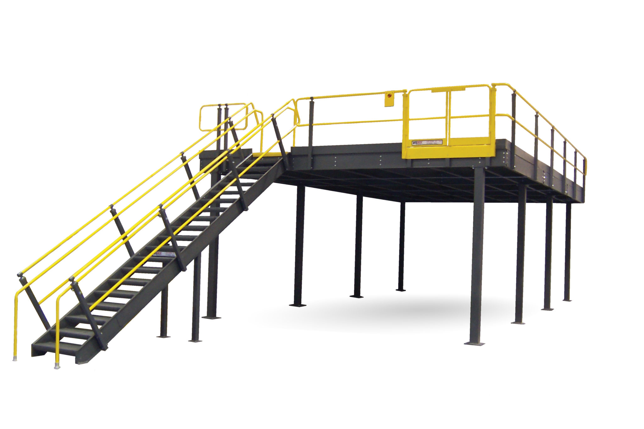 industrial steel mezzanine with stairs, gate, and deck