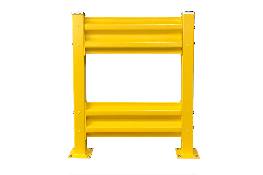Yellow forklift barrier rail