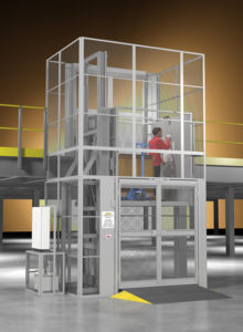 Rideable material lift with industrial mezzanine platform