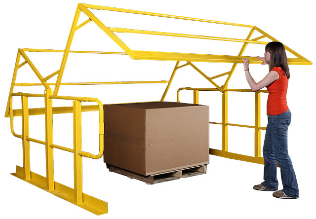 Pallet access gate for industrial mezzanine