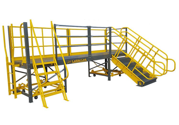 LadderLink™ work platform with vertical ladder, ships ladder, and stair access